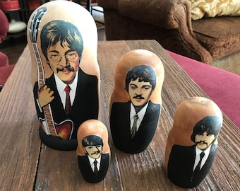 The Beatles nesting dolls, Russian style nesting dolls, John Lennon Paul McCartney George Harrison Ringo Starr, rock & roll memorabilia