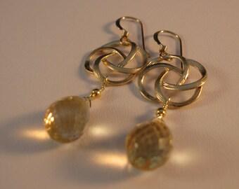 Gemstone earrings, gold earrings, flower earrings, gemstone earrings, filigree earrings, drop earrings, dangle earrings