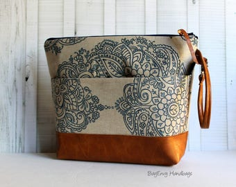 Mandala Paisley with Vegan Leather or Design Your Own - Large Zippered Diaper Clutch / Toddler Bag - Attach to Stroller