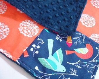 Birds in Spring Four Square Baby Minky Burp Cloth 12 x 12 READY TO SHIP