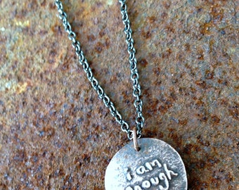 i am enough long chain necklace artisan copper clay affirmation jewelry