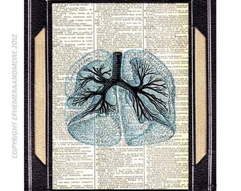 Anatomical LUNGS art print wall decor human anatomy medical science pulmonary doctor illustration on vintage dictionary book page 8x10, 5x7
