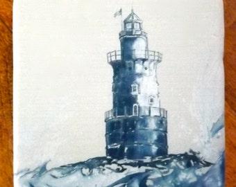 "Light House Coaster, 4""x4"" Giclée on Stone, by Jennifer Jones Rashleigh at Cédian Painting"