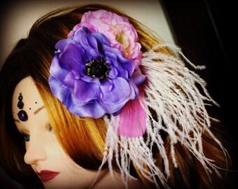 Plume de cheveux fleur - Sweet Purple