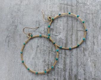 Gold-filled turquoise C hoop earrings