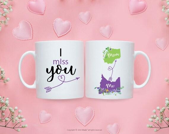 Mothers Day gift Long distance Mom mug, Long distance mug, Long distance gift, Gift for mom, Custom long distance mug, States mug