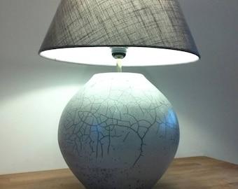 White glazed raku ceramic lamp