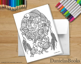 1 Octopus Dreamcatcher - 5x7 - Coloring Greeting Card - blank inside. Perfect gift for art lovers.