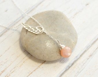 Sterling Silver Angel Wing Birthstone Necklace  -- You Choose The Stone