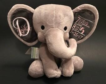 Baby stat birth keepsake elephant