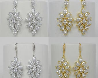Bridal Cubic Zirconia Crystal Earrings Stud Ear Wires, Wedding Jewelry Hypo Allergic Silver Or Gold Tone Blair - Will Ship in 1 Business Day