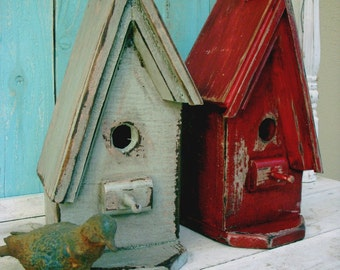 A Frame Birdhouse Wooden Bird House Handmade Gifts for Her Shabby Cottage Style Chic Farmhouse Decor Rustic Home Made in California USA