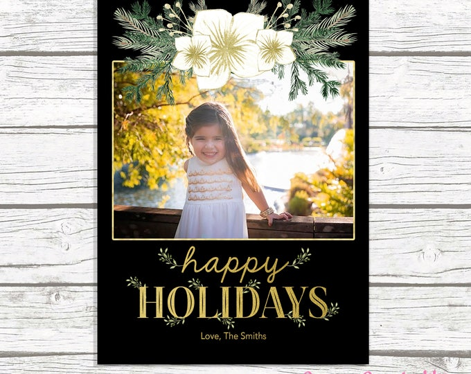 Floral Christmas Photo Card, Holiday Photo Card, Happy Holidays Card, White and Gold Christmas Card, Greenery Christmas Card