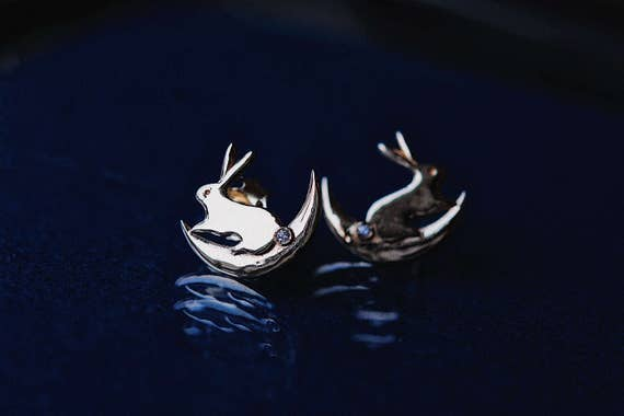 Moon Bunny Earrings by Etsy
