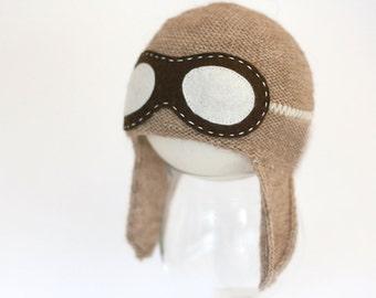 Newborn aviator hat  - Baby Pilot hat - Aviator hat with goggles - Pilot knit hat - Photography prop - Toddler aviator hat