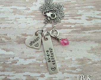 Hand stamped personalized adoption necklace