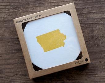 Iowa Letterpress Coasters - Set of Ten