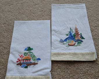 Pair of Vintage Asian Inspired Napkins