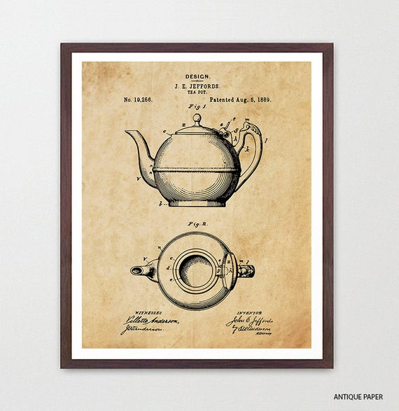 Tea Kettle - Tea Kettle Patent - Tea Pot Poster - Tea Poster - Tea Art - Tea Wall Art - Tea Decor - Food Poster - Kitchen Wall Art - Chai