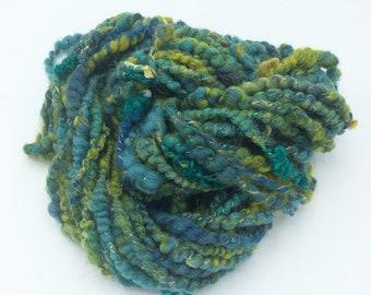 """Handspun Art Yarn, """"Pond"""", 21 yards, corespun textured novelty yarn, bulky yarn, weaving yarn"""