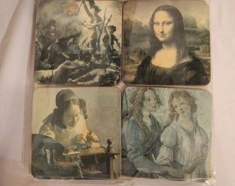 Set of 8 Coasters Depicting Famous Art or Statues of The Le Louvre