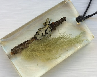 80. Twig with Lichen and Moss Necklace