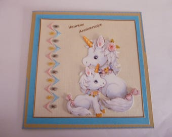 """201820 card embroidered for all occasions """"Unicorn and her"""""""