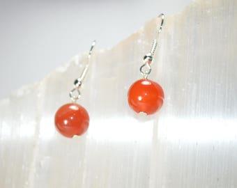 Carnelian Earrings . Red Stone Earrings . Gifts Under 10 Dollars . Stocking Stuffers . Christmas Earrings