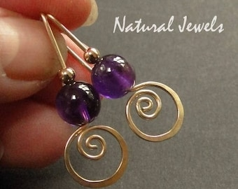 earrings and brushed brass matelle Amethyst stones