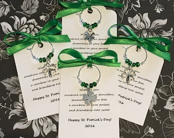 50-95 Lucky in Love Wine Charm Favors - Custom St. Patrick's Day Wine Charm Favors