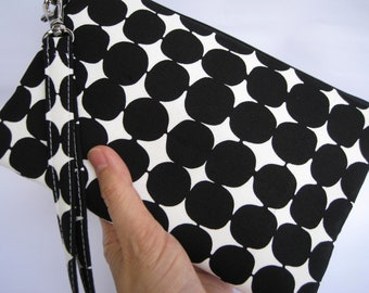 Wedding Clutch wristlet, 2 pockets,medium, cotton, bridesmaid gift - Black dots