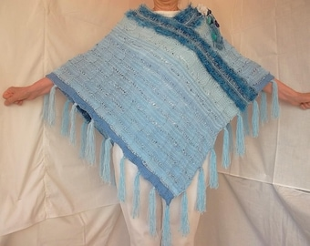 LIQUIDATION Stock 30% OFF Oversized Women Poncho Ready To Ship Accessories Shrug Hand Knitted Romantic Crochet Capelet Gift Maternity Blue