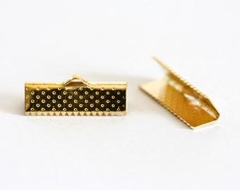 1060 Ribbon crimp 20x8 mm Golden crimp Crimp for lace Gold crimp for wires Crimp for straps Metal crimp for ribbons End crimps 20 pcs.