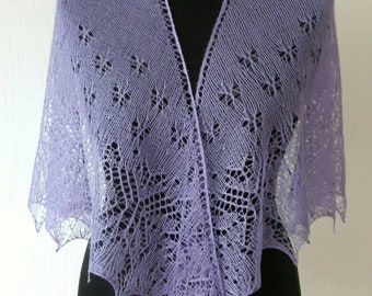 Handknitted lace shawl stole butterfly lilac lavender mulberry silk