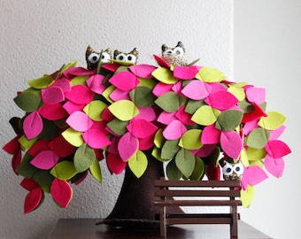 Weeping Willow Tree, Felt Tree with owls, Home Decor, housewarming gift, Green and magenta Tones, Nature inspired.