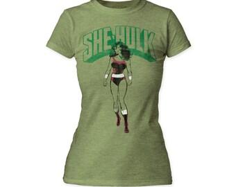 She-Hulk Juniors Tee - HULKJT01(Heather Green)