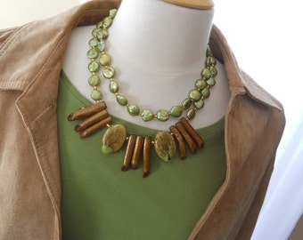 Along the Reef necklace - green coin pearls, gold branch coral, porcelain