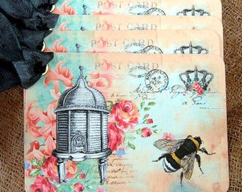 French Bee Hive Postcard Gift or Scrapbook Tags or Magnet #134