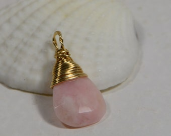 Natural Peruvian Pink Opal Briolette Pendant, Wire Wrapped Drop Birthstone  Gemstone wire wrapped teardrop