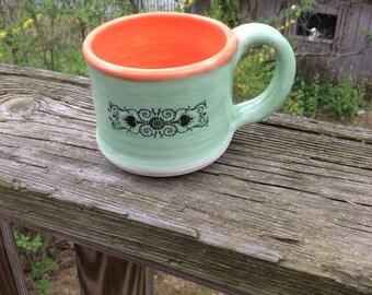 GREEN / ORANGE mug, coffee cup, ceramic, pottery, handmade ready to ship M28