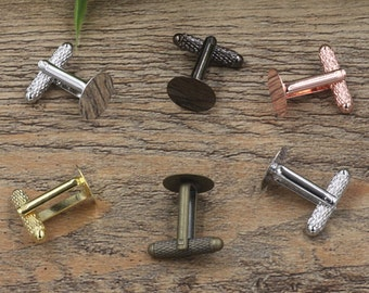 20 Brass Antique Bronze/ Silver/ Gold/ Rose Gold/ Platinum/ Gun-Metal Screw Thread Cufflink W/ 6mm/ 8mm/ 10mm/ 12mm Round Glue-on Setting