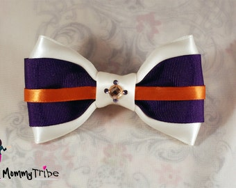Purple Bow Tie: Classy Wedding Ivory Bow Tie with Swarovski Crystals, Orange Bow Tie, Purple Wedding Bow Tie