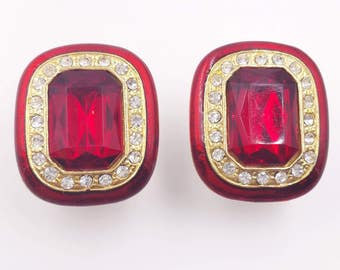 Red Enamel and Rhinestone Clip On Earrings with Clear Rhinestones Accent and Big Center Headlight Red Stone