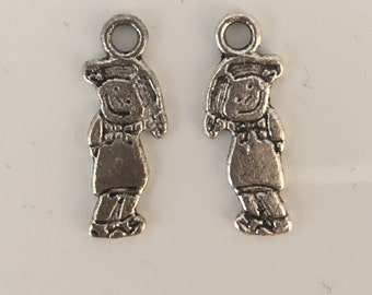 10, girl charms, metal charms, metal gir charms, silver charms, jewellery making, bracelet charms, jewelry supplies, jewellery making