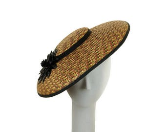 Kentucky Derby Hat, Earth Tone Ladies Straw Hat Saucer Hat Wedding Hat Mother of the Bride Hat Easter Hat Occasion Hat  Fascinator Fancy Hat