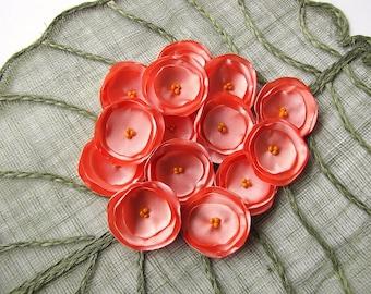 Sew on appliques, satin fabric embellishments, fabric flowers bulk, wholesale flowers, artificial flowers (15pcs)- PEACH PINK BLOSSOMS