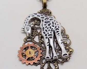 Steampunk geraffe necklace.