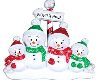 Personalized Ornament Snowman Family of 4