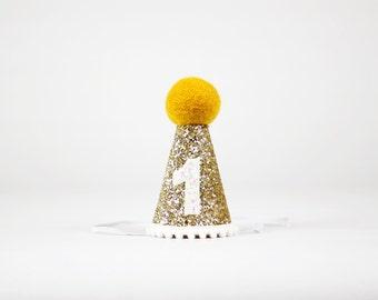 First Birthday Hat for Cake Smash   1st Birthday Girl Outfit   First Birthday Outfit Girl   Birthday Party Hats   Gold + Mustard