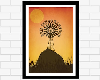 Neil Young Poster- music poster - album art - music gift - concert poster - music print - rock poster